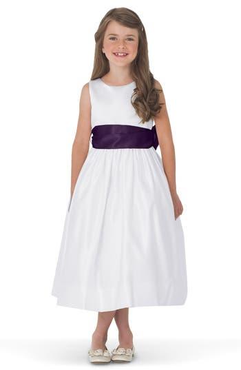 Girls Us Angels White Tank Dress With Satin Sash Size 4  Purple