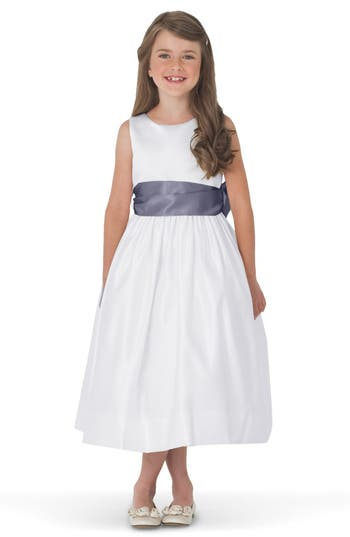 Girls Us Angels White Tank Dress With Satin Sash Size 8  Grey