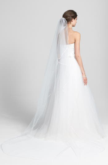 Wedding Belles New York 'Mable' Satin Trim Cathedral Veil