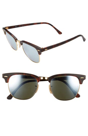 Ray-Ban Standard Clubmaster 51Mm Sunglasses - Silver Mirror