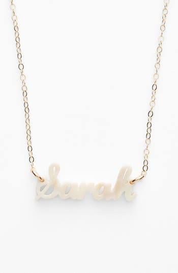 Women's Moon And Lola 'Script Font' Personalized Nameplate Pendant Necklace