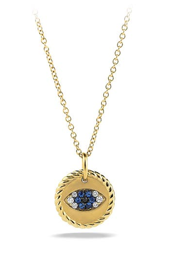 David Yurman 'Cable Collectibles' Evil Eye Charm Necklace with Blue Sapphire, Black Diamonds and Diamonds in Gold
