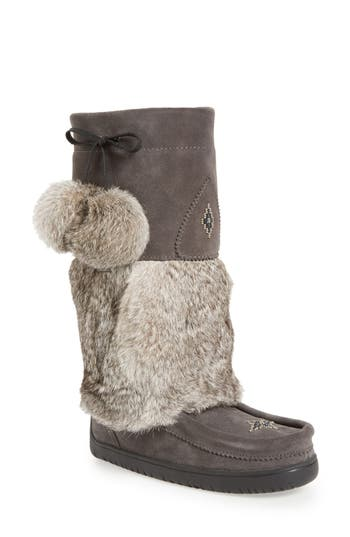 Manitobah Mukluks Snowy Owl Waterproof Genuine Fur Boot, Grey