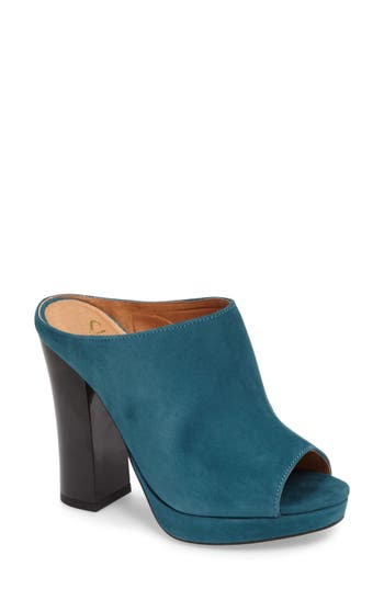 Shellys London Trent Peep-Toe Platform Mule Green