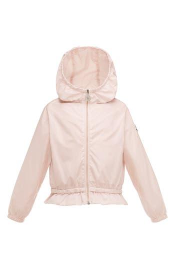 Girl's Moncler Camelien Hooded Water Resistant Windbreaker Jacket