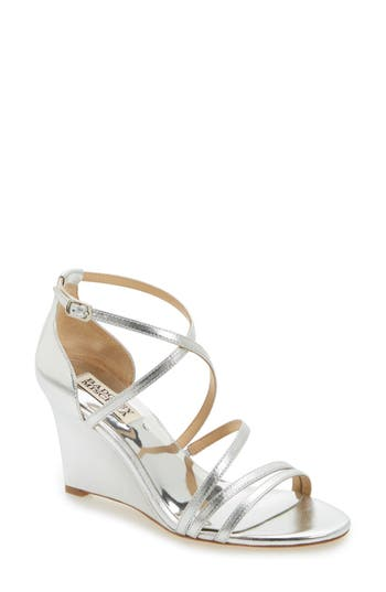 Badgley Mischka Bonanza Strappy Wedge Sandal, Metallic