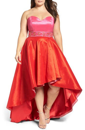 Plus Size MAC Duggal Strapless Colorblock High/low Gown