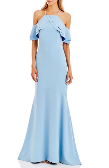 Women's Nicole Miller New York Cold Shoulder Mermaid Gown