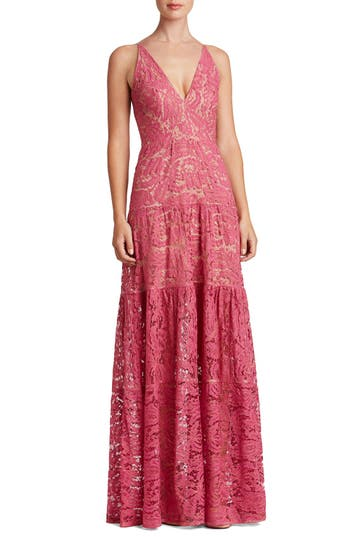 Dress The Population Melina Lace Fit & Flare Maxi Dress, Pink