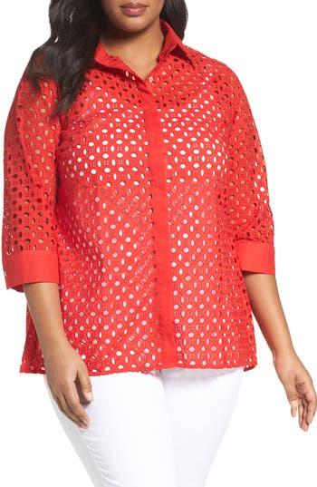 Plus Size Foxcroft Eyelet Cotton Tunic