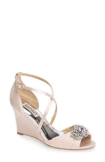 Badgley Mischka Tacey Embellished Strappy Wedge Sandal