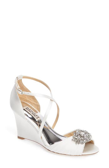 Badgley Mischka Tacey Embellished Strappy Wedge Sandal- White
