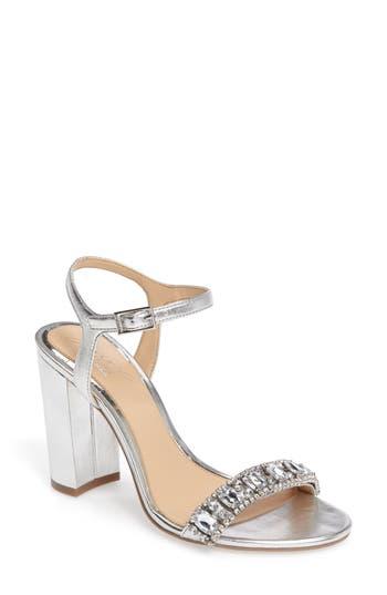 Jewel Badgley Mischka Hendricks Embellished Block Heel Sandal- Metallic