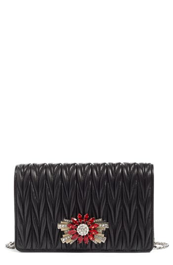 Miu Miu Delice Matelasse Leather Wallet On A Chain - Black