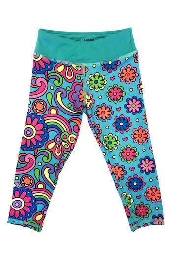 Girl's Chooze 'Cropped' Mixed Print Leggings, Size XS (5-6) - Blue/green