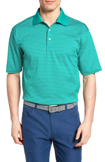 Men's Bobby Jones Dot Stripe Golf Polo, Size Small - Green