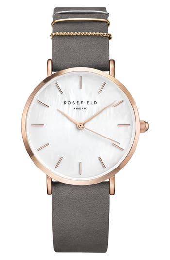 Rosefield West Village Leather Strap Watch, 33mm