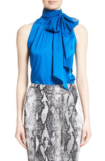 Women's St. John Collection Stretch Silk Charmeuse Halter Tie Blouse