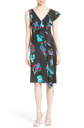 Diane Von Furstenberg Silk Side Ruffle Sheath Dress