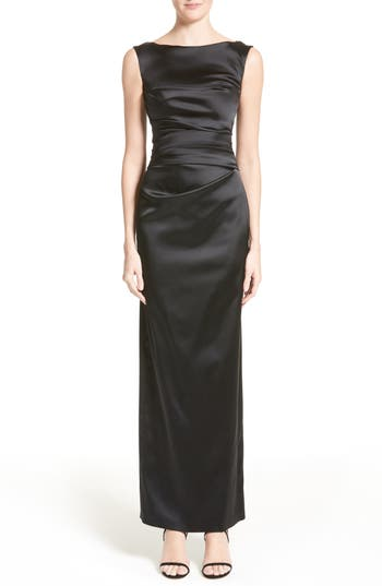 Talbot Runhof Stretch Satin Column Gown
