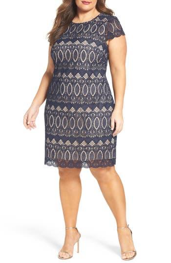 Plus Size Eliza J Cap Sleeve Lace Shift Dress, Blue