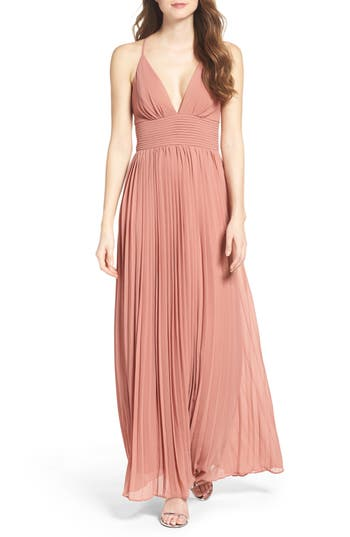 Lulus Plunging V-Neck Pleat Georgette Gown, Pink