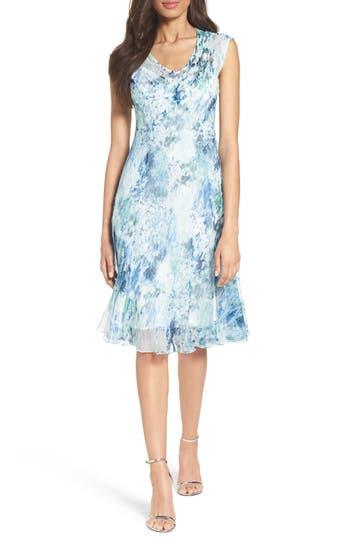 Komarov Water Lily Chiffon A-Line Dress