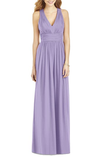 After Six Crisscross Back Ruched Chiffon V-Neck Gown, Purple