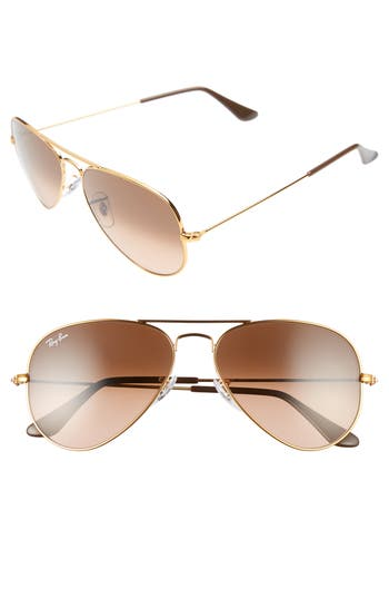 Ray-Ban Small Original 55Mm Aviator Sunglasses - Pink/ Brown