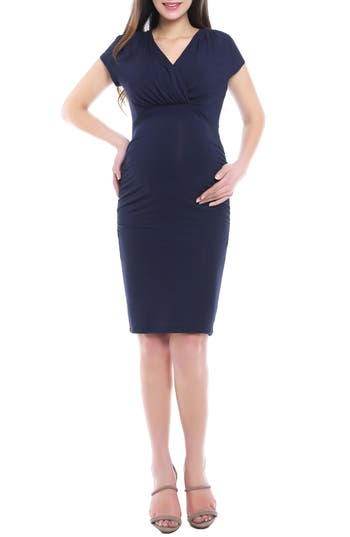 Kimi And Kai Kristen Ruched Maternity/nursing Dress, Blue