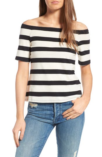 Splendid Stripe Off The Shoulder Top, Black