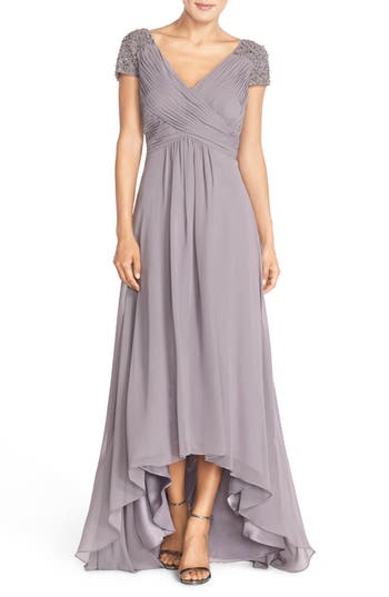 Eliza J Embellished Pleated Chiffon Gown, Grey