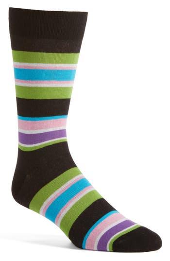 Men's Lorenzo Uomo Rugby Block Stripe Crew Socks, Size One Size - Black