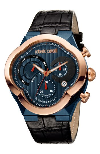 Men's Roberto Cavalli By Franck Muller Clover Chronograph Leather Strap Watch, 47Mm