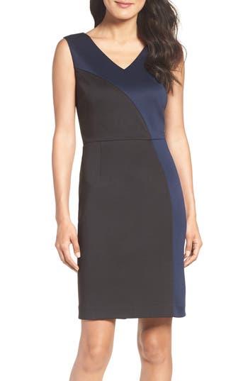 Ellen Tracy Colorblock Scuba Sheath Dress, Black