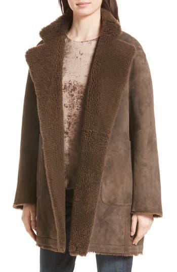 Vince Reversible Teddy Genuine Shearling Coat, Brown