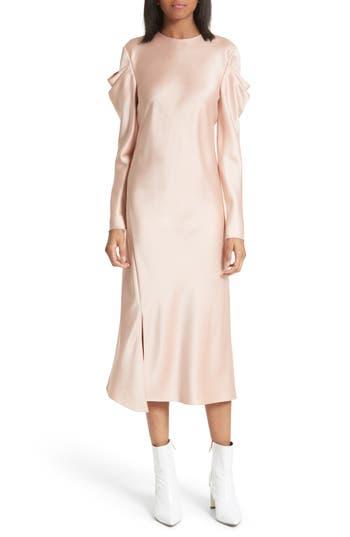 Tibi Celestia Drape Sleeve Midi Dress, Pink