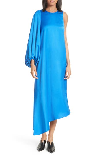 Tibi Celestia One Sleeve Bias Cut Satin Dress, Blue
