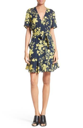Women's A.l.c. Micah Floral Silk Wrap Dress, Size 10 - Blue