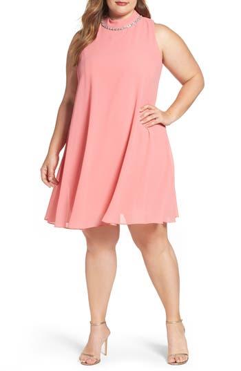 Plus Size Eliza J Embellished Chiffon Trapeze Dress, Pink