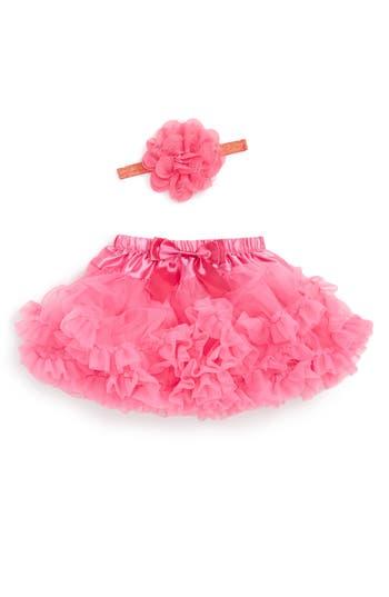 Infant Girl's Popatu Tutu & Floral Applique Head Wrap Set, Size 0-9M - Pink