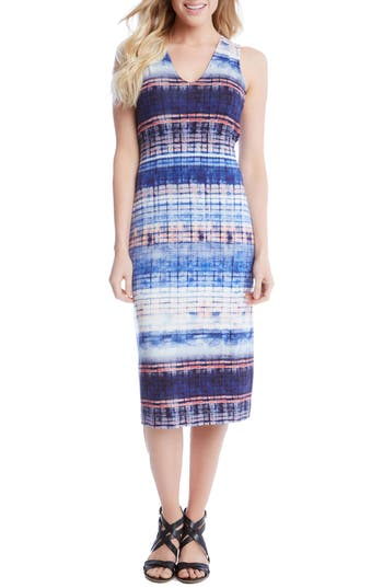 Karen Kane Distressed Stripe Knit Midi Dress