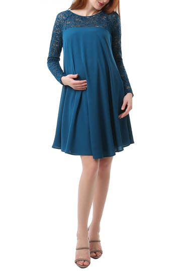 Kimi And Kai Elle Lace Trim Maternity Dress, Blue