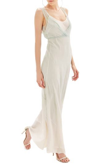 Women's Topshop Bride Column Gown, Size 2 US (fits like 0) - Green