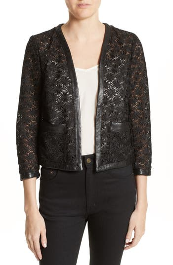 Women's The Kooples Faux Leather Trim Lace Jacket, Size 10 US / 42 FR - Black