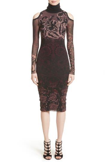 Fuzzi Cold Shoulder Tulle Turtleneck Dress, Burgundy