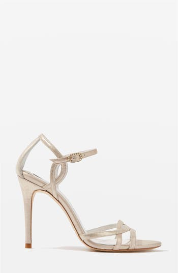 Women's Topshop Bride Belle Strappy Sandals, Size 9.5US / 40EU - Metallic