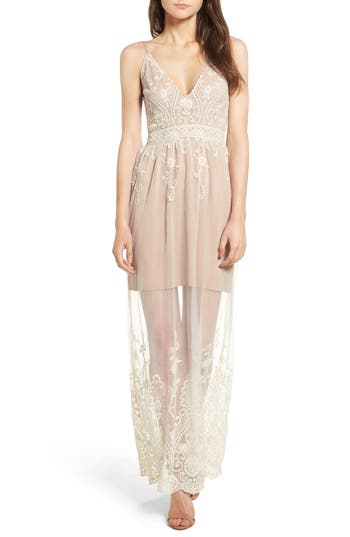 Wayf Clara Embroidered Mesh Maxi Dress, Ivory
