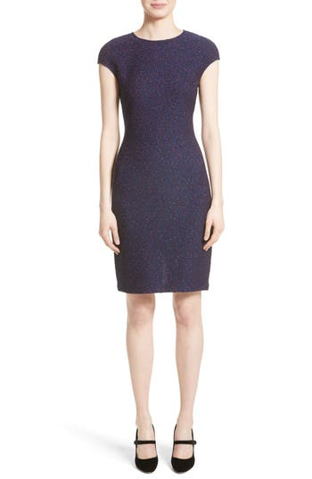 St. John Collection Broken Chevron Knit Sheath Dress, Blue