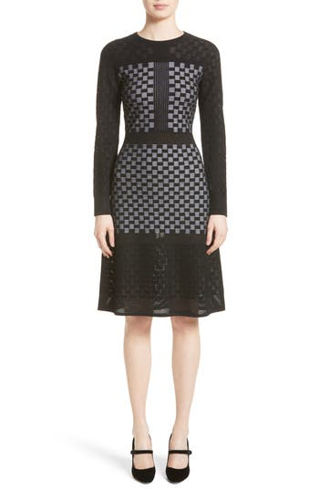 St. John Collection Illusion Checkerboard Dress, Black